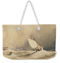 Ships At Sea Off Folkestone Harbour Storm Approaching Weekender Tote Bag by Anthony Vandyke Copley Fielding
