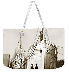 Weekender Tote Bag featuring the photograph Steam Ships San Francisco California   Circa 1900 Historical Photo by California Views Mr Pat Hathaway Archives