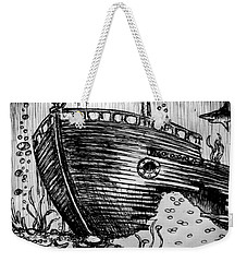 Weekender Tote Bag featuring the painting Shipwreck by Salman Ravish