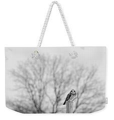 Short-eared Owl In Black And White Weekender Tote Bag