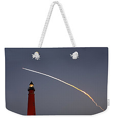 Weekender Tote Bag featuring the photograph Shuttle Discovery Liftoff Over Ponce Inlet Lighthouse by Paul Rebmann
