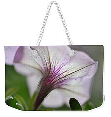 Weekender Tote Bag featuring the photograph Shy Petunia by Larry Bishop