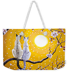 Siamese Cats Nestled In Golden Sakura Weekender Tote Bag by Laura Iverson