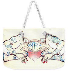 Weekender Tote Bag featuring the painting Siamese Twins by Carolyn Weltman