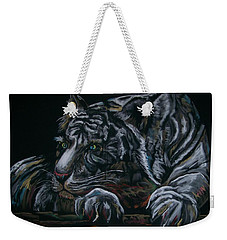 Weekender Tote Bag featuring the pastel Siberian Tiger by Peter Suhocke