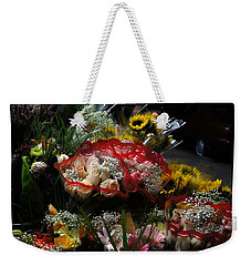 Weekender Tote Bag featuring the photograph Sidewalk Flower Shop by Lilliana Mendez