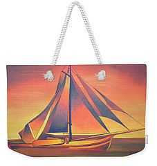 Weekender Tote Bag featuring the painting Sienna Sails At Sunset by Tracey Harrington-Simpson