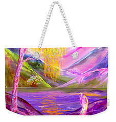 Silent Waters, Silver Birch And Egret Weekender Tote Bag
