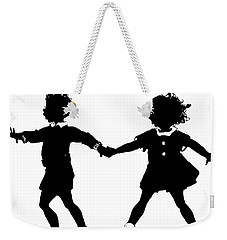 Silhouette Of Children Rollerskating Weekender Tote Bag