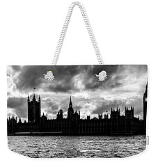 Silhouette Of  Palace Of Westminster And The Big Ben Weekender Tote Bag by Semmick Photo