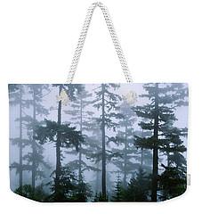 Silhouette Of Trees With Fog Weekender Tote Bag