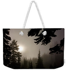 Silhouettes Of Trees On Mt Rainier Weekender Tote Bag