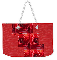 Weekender Tote Bag featuring the photograph Silken Red Sparkles Redrose Across by Navin Joshi