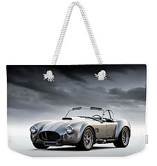 Weekender Tote Bag featuring the digital art Silver Ac Cobra by Douglas Pittman