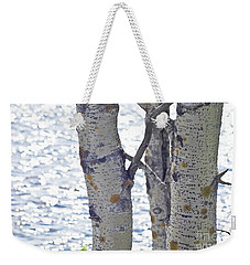 Silver Birch Trees At A Sunny Lake Weekender Tote Bag