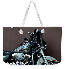 Weekender Tote Bag featuring the photograph Silver Harley Motorcycle by Imran Ahmed