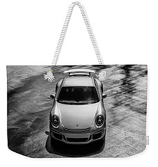 Weekender Tote Bag featuring the digital art Silver Porsche 911 Gt3 by Douglas Pittman