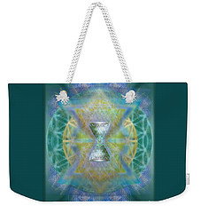 Silver Torquoise Chalicell Ring Flower Of Life Matrix II Weekender Tote Bag