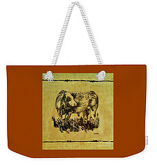 Weekender Tote Bag featuring the drawing Simmental Bull 12 by Larry Campbell