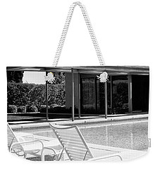 Sinatra Pool Bw Palm Springs Weekender Tote Bag by William Dey
