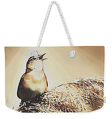 Weekender Tote Bag featuring the painting Singing My Heart Out by Sophia Schmierer