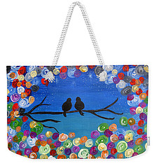 Singing To The Stars Tree Bird Art Painting Print Weekender Tote Bag