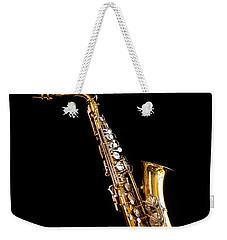 Single Saxophone Against Black Weekender Tote Bag
