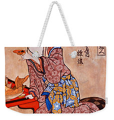 Weekender Tote Bag featuring the painting Sipping Sondra by Tom Roderick