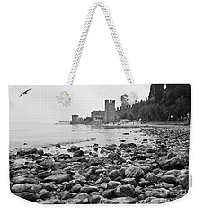 Weekender Tote Bag featuring the photograph Sirmione Castle by Simona Ghidini