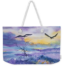 Weekender Tote Bag featuring the painting Sister Ravens by Ellen Levinson