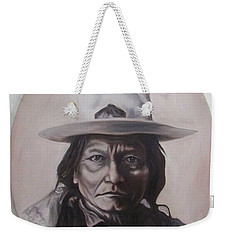 Weekender Tote Bag featuring the painting Sitting Bull by Michael  TMAD Finney
