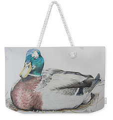 Weekender Tote Bag featuring the drawing Sitting Duck by Laurianna Taylor