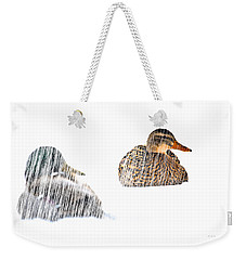 Sitting Ducks In A Blizzard Weekender Tote Bag by Bob Orsillo