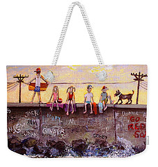 Sitting On The Sea Wall Weekender Tote Bag by Rita Brown