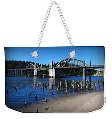 Siuslaw River Bridge Oregon Weekender Tote Bag by Nick Kloepping