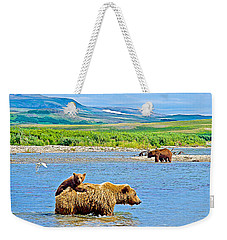 Six-month-old Cub Riding On Mom's Back To Cross Moraine River In Katmai National Preserve-alaska Weekender Tote Bag by Ruth Hager