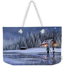 Skating At Christmas Night Weekender Tote Bag