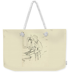 Sketch Of Waiter Pouring Wine Weekender Tote Bag