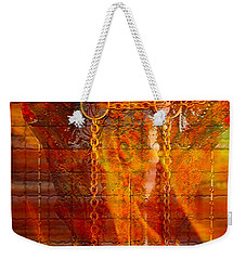 Skull On Fire Weekender Tote Bag