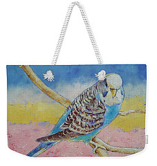Sky Blue Budgie Weekender Tote Bag by Michael Creese