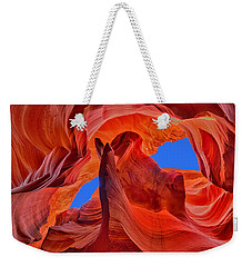 Weekender Tote Bag featuring the photograph Sky Eyes In Antelope Canyon by Greg Norrell