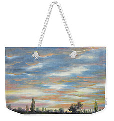 Weekender Tote Bag featuring the painting Sky by Vesna Martinjak