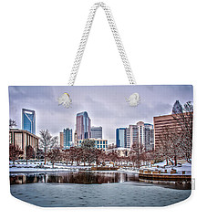 Weekender Tote Bag featuring the photograph Skyline Of Uptown Charlotte North Carolina At Night by Alex Grichenko