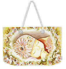 Weekender Tote Bag featuring the painting Sleeping Baby Vintage Dreams by Irina Sztukowski