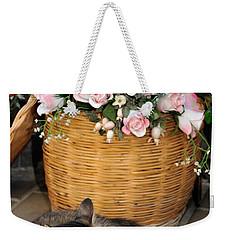 Sleeping Cat At Flower Shop Weekender Tote Bag