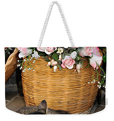 Sleeping Cat At Flower Shop Weekender Tote Bag