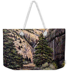 Weekender Tote Bag featuring the painting Sleeping Faces In The Rock by Donna Tucker