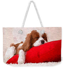 Sleeping Puppy On Red Pillow Weekender Tote Bag by Anthony Fishburne