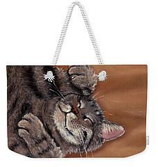 Weekender Tote Bag featuring the painting Sleepy Kitty by Anastasiya Malakhova