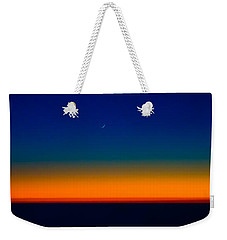 Weekender Tote Bag featuring the photograph Slice Of Moon In The Night Sky by Don Schwartz